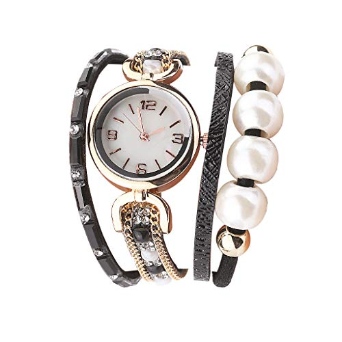 Rosennie Frauen Uhren Vintage Damen Armbanduhr Analoge Quarz-Uhr mit Perle Armband Zifferblatt Quarzwerk Damenschmuck Armband Uhr Armbänder Uhren
