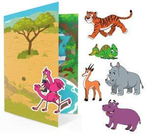 Galoxee Libro magnético con dos grandes escenas de juego, imanes extra muchos niños (31 unidades), juego de viaje con funda, imanes de animales, a partir de 4 años