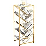 Bookcases Childrens Bookshelf with Storage,Household Children's Book Shelf, Student Bookcase Tree Shape, Picture Book Shelf for Kids,Wrought Iron Bookshelf (Color : Gold, Size : 4024105cm)