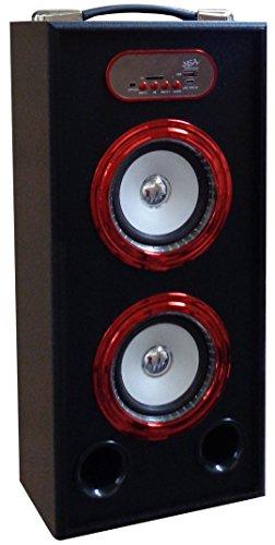 MOBILER BLUETOOTH LAUSPRECHER - ROT-SCHWARZ - STEREO - BLUETOOTH KOPPLUNG - AUX - RADIO FM - SENDERSPEICHER - MIRCRO SD - USB - CONNECT - SOUND BASS - PART - LED BELEUCHTUNG