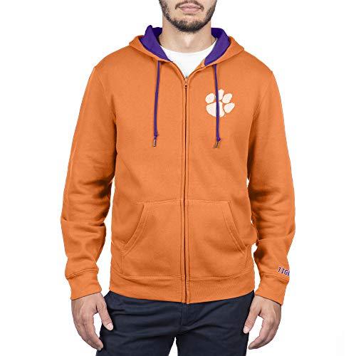 NCAA Clemson Tigers Men's Zip Up Hoodie Sweatshirt Team Applique Icon, Classic Orange, X-Large