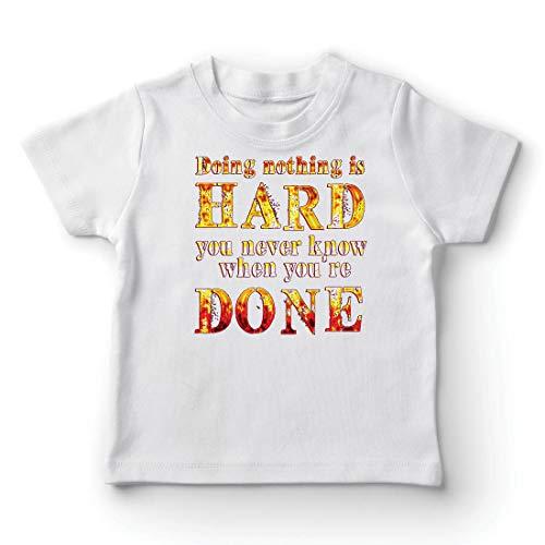 lepni.me Camiseta para Niño/Niña No Hacer Nada es Difícil, Cita Graciosa, Decir Perezoso (7-8 Years Blanco Multicolor)