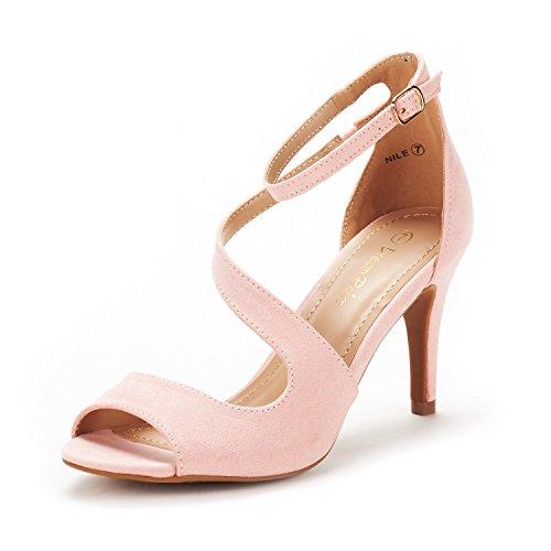 DREAM PAIRS Women's NILE Pink Fashion Stilettos Open Toe Pump Heel Sandals Size 8 B(M) US
