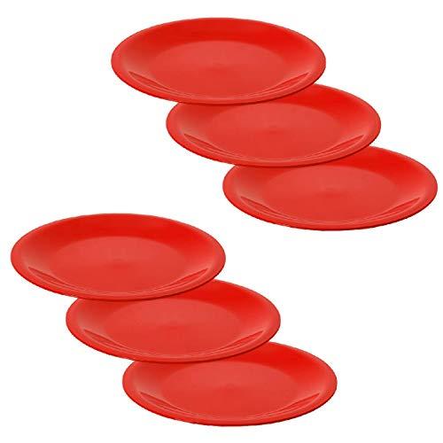 ENGELLAND Juego de 6 platos de comida, guarniciones, platos, picnic, jardín, barbacoa, accesorios de plástico, aptos para microondas y lavavajillas, color rojo