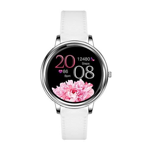 YNLRY Reloj inteligente para mujer con pantalla completa táctil, podómetro, frecuencia cardíaca, seguimiento del sueño (color: blanco)