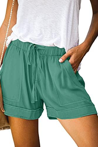 QUEEN PLUS Elastic Waist Shorts for Ladies Fashion Lightweight Soft Shorts,Mallard Green,XL