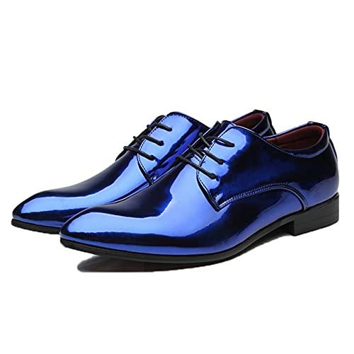 Zapatos Derby para Hombre Zapatos de Vestir con Cordones Bajos de Charol de Color sólido Zapatos Formales de Color Caramelo Antideslizantes con Punta Puntiaguda Elegante para Fiesta