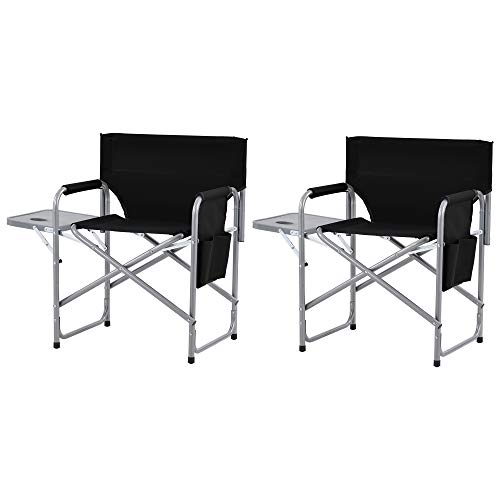 HLXXX Set of 2 Folding director chair, Camping chair with Side Table and Side Pockets Supports 260 lbs, Folding beach chair, Portable deck chair for outdoors