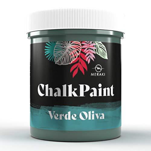 CHALK PAINT Pintura efecto tiza al agua mate (500ML, VERDE OLIVA)