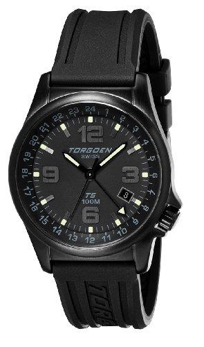 TORGOEN Swiss Herren-Armbanduhr Analog Edelstahl schwarz T05301