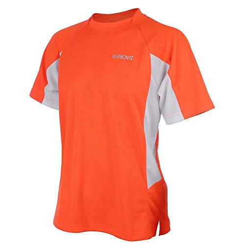 Proviz T-Shirt de Cyclisme/Course à Pied Manches Courtes pour Homme Orange Orange x-Large