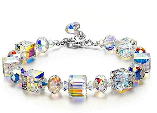 Hponkm Pulsera romántica con piedras de cristal de color norte, con cordón de extensión ajustable brillante