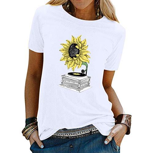 Dame Sommer Sonnenblume Vinyl Plattenspieler Einfach Lässig Paar T-Shirt Kurzarm Dating Party Frauen Frühling Retro Bluse Tops Sweatshirt Pullover Picknick Camping Kleidung (Weiß, M)