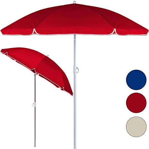 Deuba® Sonnenschirm höhenverstellbar 180cm - 200cm Neigefunktion 2 teilig transportierbar stabile Verstrebung wasserabweisend Gartenschirm Strandschirm rot 180cm