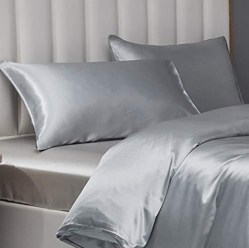 Damier Funda de almohada de satén de 40 x 80 cm, color gris, sedosa, brillante, de alta calidad, juego de 2 fundas de almohada de satén con sobre, para cabello y cuidado de la piel