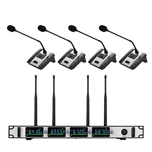 Professionelle Funkmikrofonsystem 4-Kanal UHF Cordless Mic Set mit 4 Headset Mics Musikinstrumente & DJ-Equipment