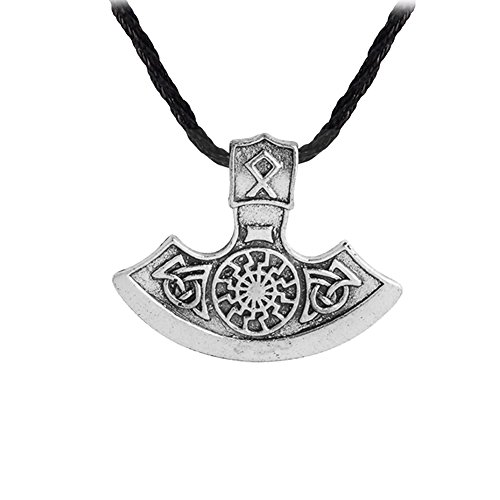 GuDeKe Wikinger Amulett Axt Sonne Anhänger Halskette (Silber)