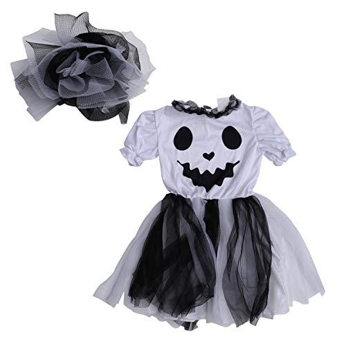 Amosfun Halloween Tule Jurk Ghost Cosplay Korte mouw Jurk met Hoofdstuk voor Meisjes