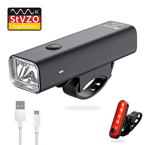 Pezimu Fahrradlicht Fahrradbeleuchtung LED Set - Frontlicht und Rücklicht Wasserdicht USB Wiederaufladbare Fahrradlampe - StVZO Zugelassen Fahrradlichter