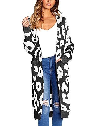 Auxo Damen Strickjacke Pullover Langarm Leopard Cardigan Oversize Strickmantel Lang Mantel Jacke Schwarz Small