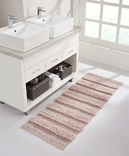 "VCNY Home Savannah Collection Bath Rug Runner-Boho Fringe Striped Design-for Bathroom, Hallway, or Kitchen Use, 24"" x 60"", Pink"