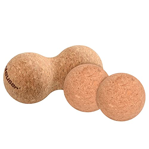 Deuser Pelota doble de corcho y 2 pelotas de corcho de 6,5 cm de diámetro para yoga