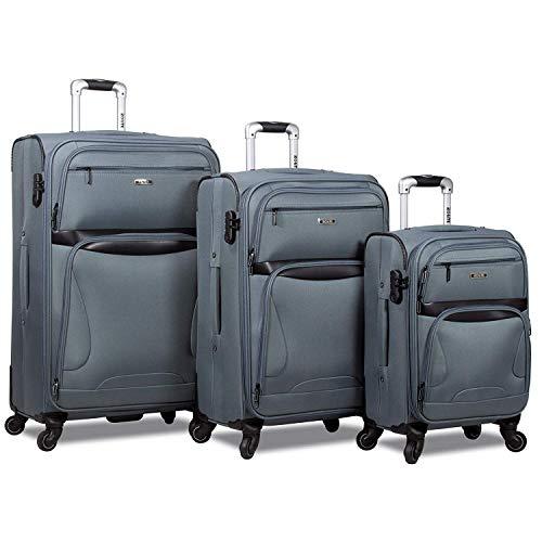 Rolite Explorer 3-Piece Expandable Spinner Luggage Set-Grey