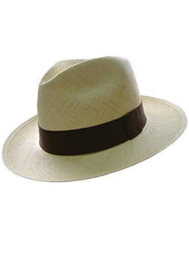 Genuíno Chapéu de Panama Gamboa Unisex, 100% Palha, cor Branco Natural Fabricado no Equador