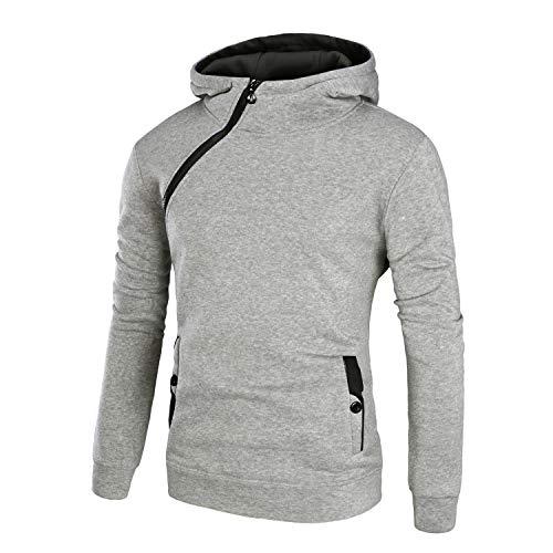 Mannen vis Plain Die Nieuwe mannen Casual trui slagkleur met capuchon dikke schuine rits jas side Zipper Buckle Norm (color : 4, Maat: M)
