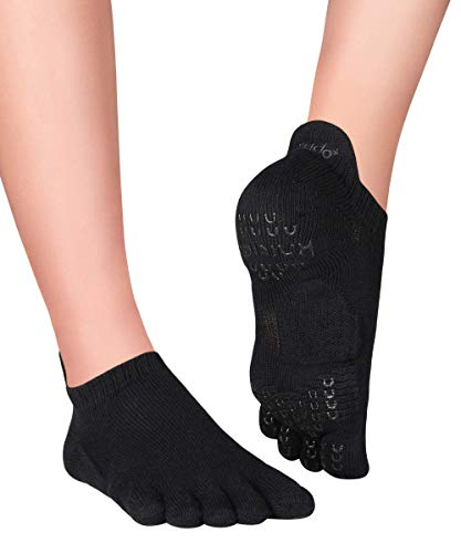 Knitido+ Sora rutschfeste Zehensocken für Pilates und Yoga, Größe:35-38, Farbe :schwarz (09)