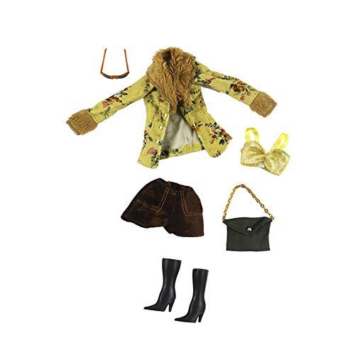 Hdsght Ropa de muñeca zapatos para muñecas de 11.5 pulgadas, accesorios de disfraz, ropa de mano, botas de pantorrilla, trajes de moda, decoración de juguetes (#F)