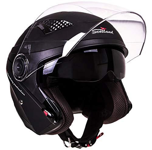 Scotland Motorcycle Dept 120019-nrop-m Motorradhelm mit Sonnenvisier für Unisex - Erwachsene, Schwarz, M