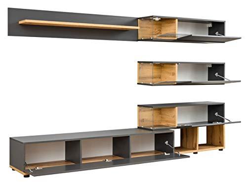 Wohnwand – Graue, elegante Anbauwand mit LED Bild 2*