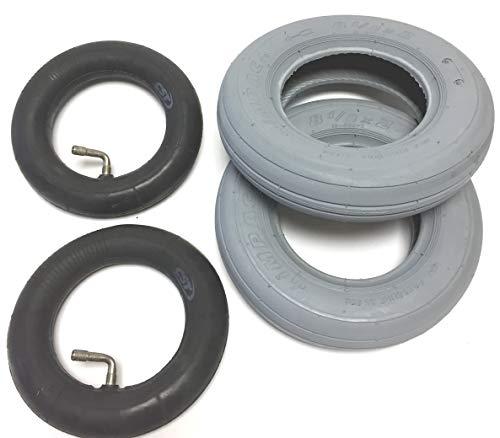 2 x rolstoelbanden met slang 8.1/2 x 2 (220/120x50) voor elektrische rolstoelen, banden grijs, lichtlopende profiel, 35 psi-luchtdruk.