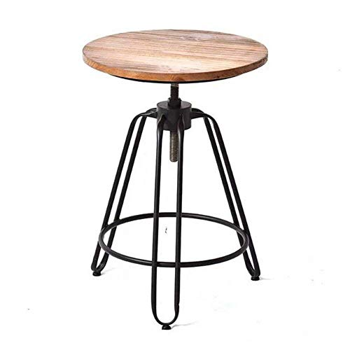 FMOGE End Tables Side Table Retro Solid Wood Coffee Table Round Metal Corner Table Height Adjustable (Size : 55 * 55 * 60-85cm) (Size : 55 * 55 * 60 85cm)