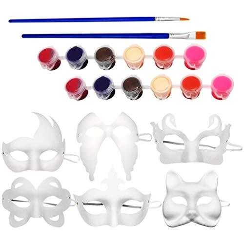 VALICLUD DIY sin Pintar Masquerade Face Cover Blanco Liso Media Cara con 12 Colores Pincel de Pinturas para Niños Adultos Halloween Navidad Mardi Gras Accesorios de Disfraces
