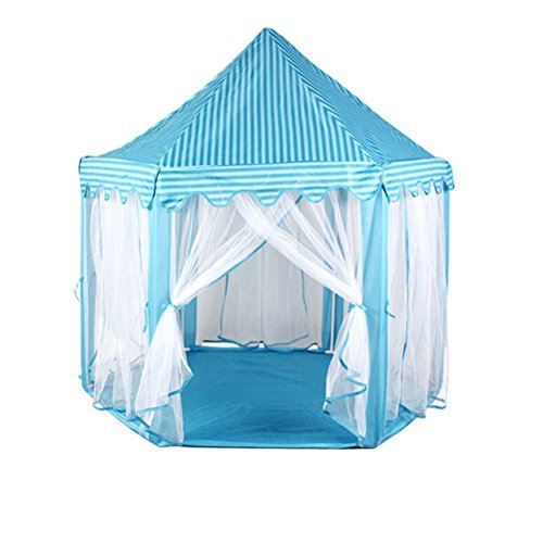 VORCOOL Hexagon Prinzessin Castle Cute Indoor Kinder Spielen Zelt Outdoor Girls Playhouse (blau)