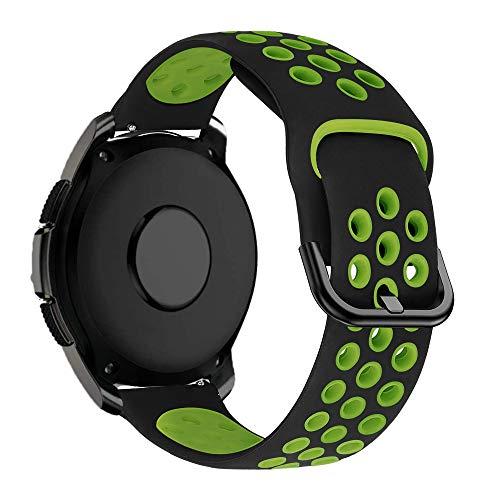 MroTech 20 mm Cinturino Compatibile per Samsung Galaxy Watch 42mm/Active2/Active 2 40mm 44mm/Gear Sport/S2 Classic/Bip/GTS/Huawei Watch GT 2 42MM/Vivoactive 3/TicWatch C2 Banda 20 mm-Nero/Verde