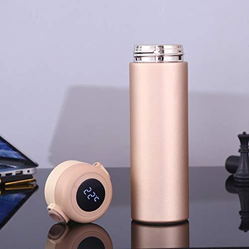 Jusemao Botella de agua aislada de acero inoxidable con pantalla LED temperatura que rebota tapa botella de agua 500ml-Golden_500ml