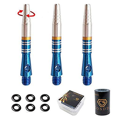 COSDDI Dartpfeil Shaft Dart Schaft Aluminium,360 ° Rotation Darts,3 Stück Dartschäfte mit Rubber O-Ringe,Darts Schleifstein und Dartpfeil-Schäfte(Blau)