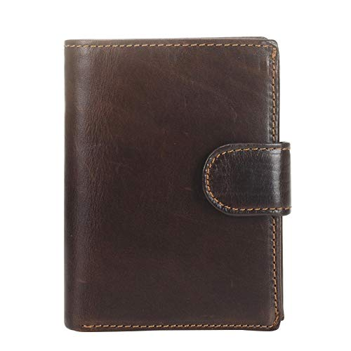 Bag Men's Short Retro Leather Leather Wallet Double Folding Solid Wallet Male ID ID Card Holder Handbag (Color : Coffee, Size : S)
