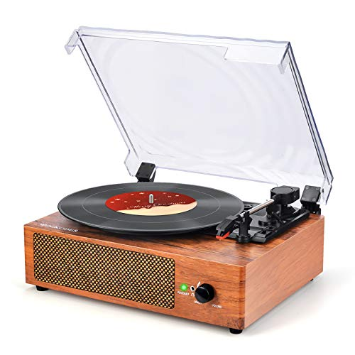 WOCKODER Vintage Turntable 3 Speed Belt Drive Vinyl Player LP Record Player with Built-in Stereo Speaker Aux-in and Natural Wood RCA Output