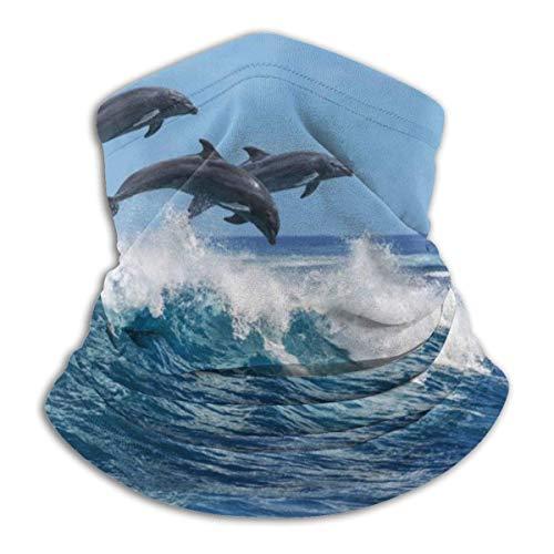 Lzz-Shop Calentador de Cuello de esquí cálido Dolphin Personalizado, pasamontañas a Prueba de Polvo a Prueba de Viento