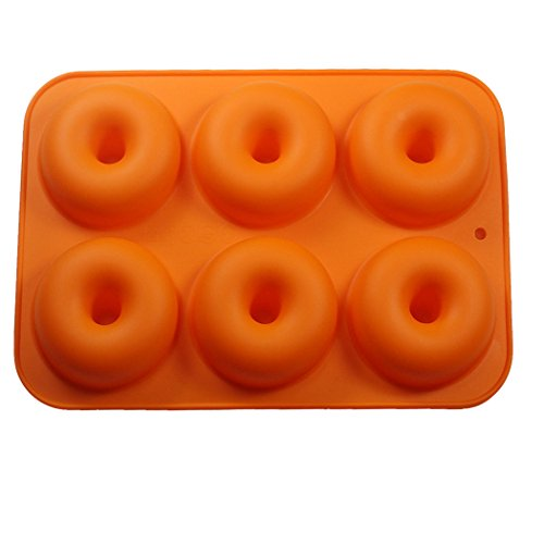 Uarter Silicone Donut Molds, Non-Stick Food-Safe Silicone Baking Tray Maker Pan Heat Resistance for Cake Biscuit Bagels, Pack of 2