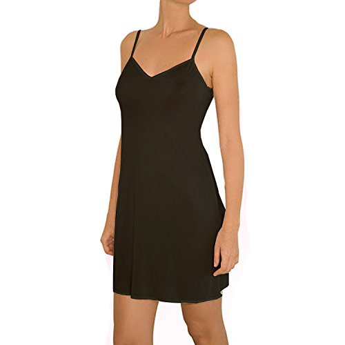 Anemone Women's Non-Cling Silky Smooth Full Slip - Black - Large