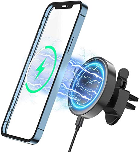 Hoidokly Cargador de Coche Inalámbrico Magnético, Soporte de Carga para Coche MagSafe-Compatible con iPhone 12/12 Mini/12 Pro/12 Pro MAX, Fijación y Alineación Magnética