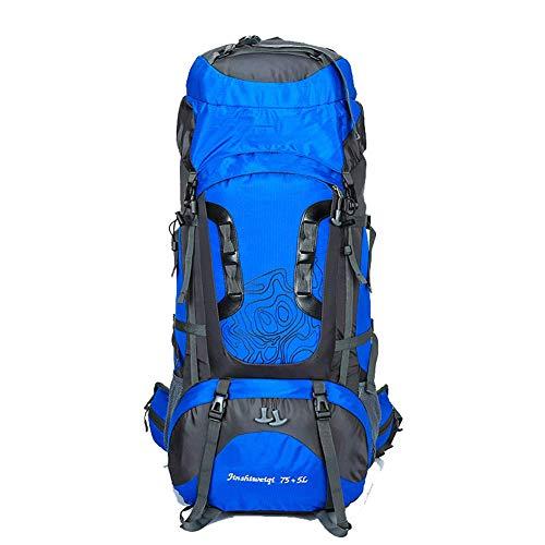 YHDQ Sac d'alpinisme extérieur/Sac à Dos/Sac de Sport Neuf / 80 litres Grande capacité imperméable à l'eau/Porte-Sac à Dos-Blue