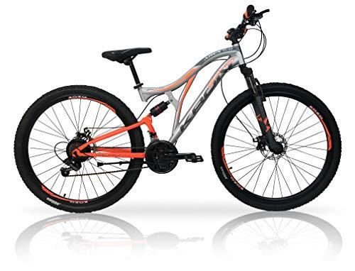 5.0 Bici Bicicletta MTB Ares 26' 27.5' 29' Pollici BIAMMORTIZZATA 21 Velocita' Shimano Mountain Bike REVO Freno A Disco (Arancio/Grigio, 27.5' Pollici)