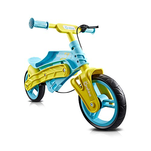 OLYSPM Bicicleta sin Pedales para Niños Mayores de 2 Años,con Frenos,Bicicleta de Equilibrio para Niños con Sillín y Manubrio Regulable(Amarillo)
