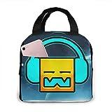 Yuanmeiju Bolsa de almuerzo Geometry Dash Robtop Games Bolsa de enfriamiento duradera aislada para trabajo, escuela, viajes, 5X8X8.5In